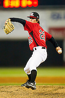 Cody Buckel #22 of the Hickory Crawdads in action against the Augusta GreenJackets at L.P. Frans Stadium on April 29, 2011 in Hickory, North Carolina.   Photo by Brian Westerholt / Four Seam Images