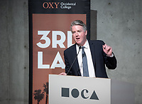 "Occidental College Professor of Practice and Chief Design Officer for the City of L.A. Christopher Hawthorne.<br /> Occidental College's 3rd LA (Re)Designing LA series continues in the Ahmanson Auditorium at The Museum of Contemporary Art (MOCA) on March 27, 2019. Hosted by Oxy Professor of Practice and Chief Design Officer for the City of Los Angeles Christopher Hawthorne, guest speakers and panelists discussed ""Strange Beauty: Making Sense of L.A. Architecture from the 1980s and 1990s.""<br /> 3rd LA is co-sponsored by Occidental, the Mayor's Office and the Los Angeles Department of Cultural Affairs.<br /> (Photo by Marc Campos, Occidental College Photographer)"
