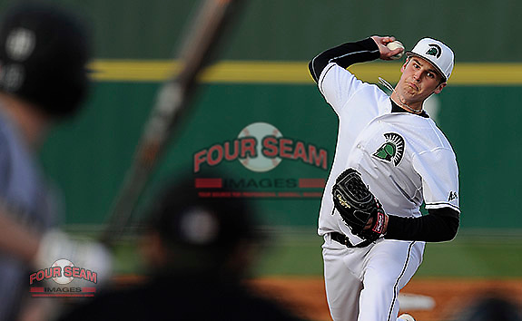 Pitcher Zach Mitchell of the University of South Carolina Upstate Spartans in a game against the Bryant University Bulldogs on Friday, February, 28, 2014, at Cleveland S. Harley Park in Spartanburg, South Carolina. Bryant won, 13-2. (Tom Priddy/Four Seam Images)