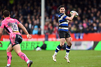 Freddie Burns of Bath Rugby receives the ball. Anglo-Welsh Cup Final, between Bath Rugby and Exeter Chiefs on March 30, 2018 at Kingsholm Stadium in Gloucester, England. Photo by: Patrick Khachfe / Onside Images