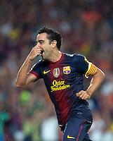 FUSSBALL  INTERNATIONAL  PRIMERA DIVISION  SAISON 2011/2012   23.08.2012 El Clasico  Super Cup 2012 FC Barcelona - Real Madrid  JUBEL Barca; Torschuetze zum 3-1 Xavi Hernandez