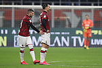 Ante Rebic of AC Milan gives a pat on the behind of Zlatan Ibrahimovic for his part in the build to the Croatian's goal during the Coppa Italia match at Giuseppe Meazza, Milan. Picture date: 13th February 2020. Picture credit should read: Jonathan Moscrop/Sportimage