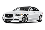Stock pictures of low aggressive front three quarter view of a 2019 Jaguar XE  Base 4 Door Sedan