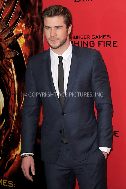 WWW.ACEPIXS.COM<br /> November 20, 2013...New York City<br /> <br /> Liam Hemsworth attending a premiere of 'The Hunger Games: Catching Fire' on November 20, 2013 in New York City.<br /> <br /> Byline: Kristin Callahan/Ace Pictures<br /> <br /> ACE Pictures, Inc.<br /> tel: 646 769 0430<br />       212 243 8787<br /> e-mail: info@acepixs.com<br /> web: http://www.acepixs.com