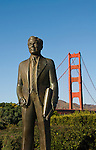San Francisco, California, Goldn Gate Bridge, statue of Joseph Strauss, bridge builder, at South End Vista Point.  Photo copyright Lee Foster.  Photo # 1-casanf76402.