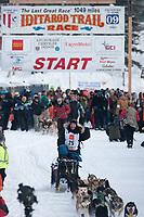 Hans Gatt team leaves the start line during the restart day of Iditarod 2009 in Willow, Alaska