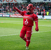 June 4th 2017, AJ Bell Stadium, Salford, Greater Manchester, England;  Rugby Super League Salford Red Devils versus Wakefield Trinity; The Salford Red Devils mascot gets the crowd going before the match