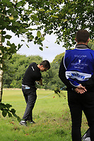 Dermot McElroy (NIR) plays his 2nd shot from the trees on the 9th hole during Sunday's Final Round of the Northern Ireland Open 2018 presented by Modest Golf held at Galgorm Castle Golf Club, Ballymena, Northern Ireland. 19th August 2018.<br /> Picture: Eoin Clarke | Golffile<br /> <br /> <br /> All photos usage must carry mandatory copyright credit (&copy; Golffile | Eoin Clarke)