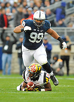 01 November 2014:  Penn State DT Austin Johnson (99) covers a WR in pass coverage. The Maryland Terrapins defeated the Penn State Nittany Lions 20-19 at Beaver Stadium in State College, PA.