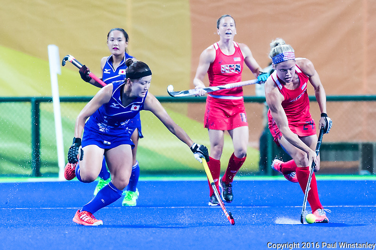 Kathleen Sharkey #24 of United States races upfield during USA vs Japan in a Pool B game at the Rio 2016 Olympics at the Olympic Hockey Centre in Rio de Janeiro, Brazil.
