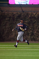 Cleveland Indians outfielder Rajai Davis (20) gets under a fly ball in the first inning during Game 4 of the Major League Baseball World Series against the Chicago Cubs on October 29, 2016 at Wrigley Field in Chicago, Illinois.  (Mike Janes/Four Seam Images)