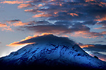Tungurahua Volcano, Ecuador, sunset, active stratovolcano  5,023 m is located in the Cordillera Central of the Andes, clouds
