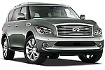 Low aggressive passenger side front three quarter view of a 2011 Infiniti QX56.
