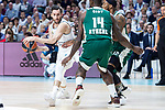 Real Madrid Rudy Fernandez and Panathinaikos James Gist during Turkish Airlines Euroleague Quarter Finals 4th match between Real Madrid and Panathinaikos at Wizink Center in Madrid, Spain. April 27, 2018. (ALTERPHOTOS/Borja B.Hojas)
