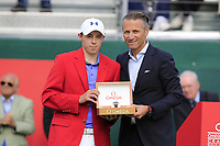 Matthew Fitzpatrick (ENG), pictured with Omega CEO Raynald Aeschlimann, wins the tournament after a 3 hole playoff at the  end of Sunday's Final Round of the 2017 Omega European Masters held at Golf Club Crans-Sur-Sierre, Crans Montana, Switzerland. 10th September 2017.<br /> Picture: Eoin Clarke | Golffile<br /> <br /> <br /> All photos usage must carry mandatory copyright credit (&copy; Golffile | Eoin Clarke)