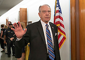 United States Senator Chuck Grassley (Republican of Iowa) declines to answer a reporter's question in the hallway during a break in the testimony of Dr. Christine Blasey Ford  before the US Senate Committee on the Judiciary on the nomination of Judge Brett Kavanaugh to be Associate Justice of the US Supreme Court to replace the retiring Justice Anthony Kennedy on Capitol Hill in Washington, DC on Thursday, September 27, 2018.<br /> Credit: Ron Sachs / CNP<br /> (RESTRICTION: NO New York or New Jersey Newspapers or newspapers within a 75 mile radius of New York City)