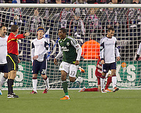 Portland Timbers midfielder Jeremy Hall (17) celebrates his assist on a goal. In a Major League Soccer (MLS) match, the New England Revolution tied the Portland Timbers, 1-1, at Gillette Stadium on April 2, 2011.