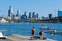 Boathouse Row, Skulling, Buildings, Skyscrapers, Downtown, Phila. PA,  Skyline