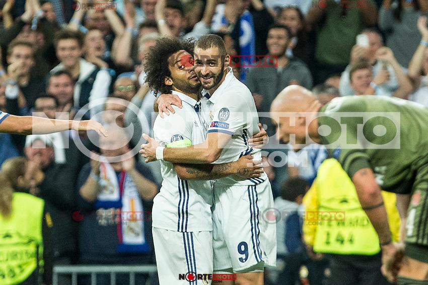 Real Madrid's Karim Benzema Real Madrid's Marcelo Vieira during the match of UEFA Champions League group stage between Real Madrid and Legia de Varsovia at Santiago Bernabeu Stadium in Madrid, Spain. October 18, 2016. (ALTERPHOTOS/Rodrigo Jimenez) /NORTEPHOTO.COM