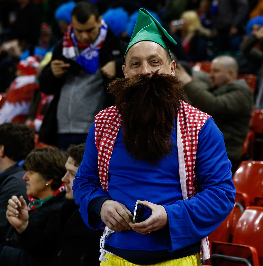 An Italy enjoys the pre match atmosphere<br /> <br /> Photographer Simon King/CameraSport<br /> <br /> International Rugby Union - RBS 6 Nations Championships 2016 - Wales v Italy - Saturday 19th March 2016 - Principality Stadium, Cardiff <br /> <br /> &copy; CameraSport - 43 Linden Ave. Countesthorpe. Leicester. England. LE8 5PG - Tel: +44 (0) 116 277 4147 - admin@camerasport.com - www.camerasport.com
