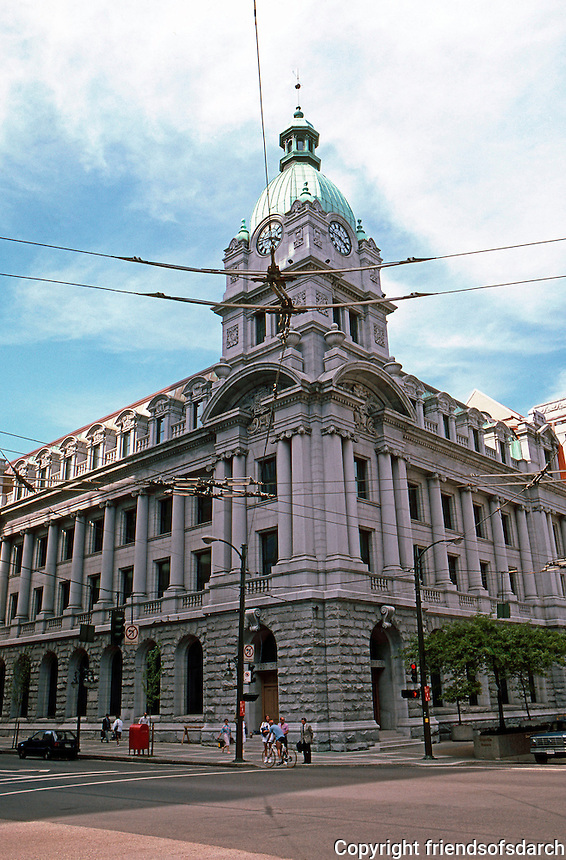 """Vancouver: Post Office 1905-1910. 701 W. Hastings. Dept. of Public Works. """"Essay in Edwardian Baroque"""""""
