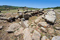 Picture and image of the prehistoric nuragic Giants Tomb foundation ruins, The Prehistoric Nuragic Complex of Tamuli, Macomer, Sardinia.