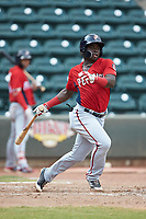 Telmito Agustin (4) of the Potomac Nationals follows through on his swing against the Winston-Salem Rayados at BB&T Ballpark on August 12, 2018 in Winston-Salem, North Carolina. The Rayados defeated the Nationals 6-3. (Brian Westerholt/Four Seam Images)