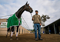 DEL MAR, CA - NOVEMBER 01: Bolt d'Oro with his groom Saul Marquez at Del Mar Thoroughbred Club on November 01, 2017 in Del Mar, California. (Photo by Alex Evers/Eclipse Sportswire/Breeders Cup)