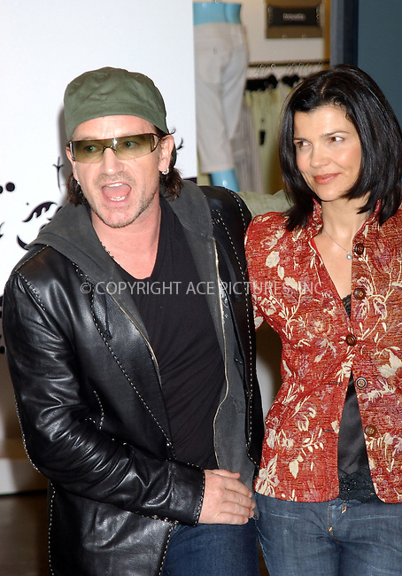 WWW.ACEPIXS.COM . . . . . ....NEW YORK, MAY 22, 2005....Bono and Ali Hewson at Barney's to promote their new clothing line 'Edun.'....Please byline: KRISTIN CALLAHAN - ACE PICTURES.. . . . . . ..Ace Pictures, Inc:  ..Craig Ashby (212) 243-8787..e-mail: picturedesk@acepixs.com..web: http://www.acepixs.com