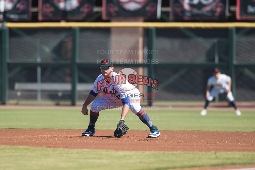 Scottsdale Scorpions first baseman Peter Alonso (20), of the New York Mets organization, during an Arizona Fall League game against the Surprise Saguaros at Scottsdale Stadium on October 26, 2018 in Scottsdale, Arizona. Surprise defeated Scottsdale 3-1. (Zachary Lucy/Four Seam Images)