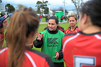 Manukura coach Janna Michel Vaughan talks to the team during the 2017 Hurricanes Secondary Schools girls rugby union final between Manukura College and St Mary's College at Arena Manawatu in Palmerston North, New Zealand on Saturday, 2 September 2017. Photo: Dave Lintott / lintottphoto.co.nz