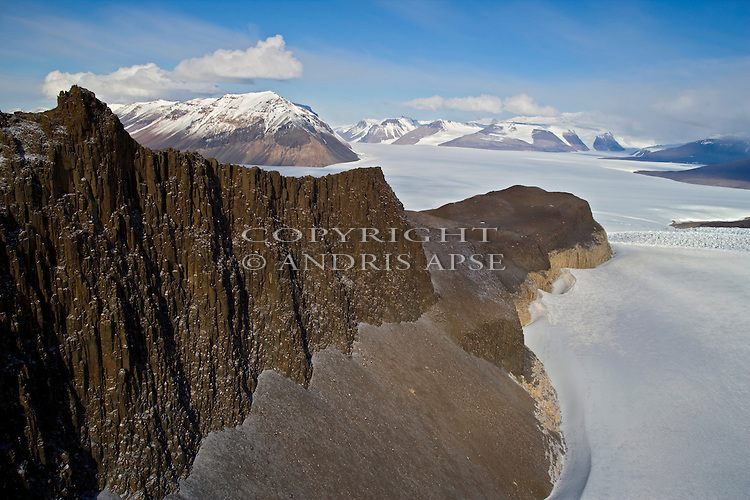 Aerial of  Pandora Spire Taylor Glacier. The Dry Valleys. Antarctica.