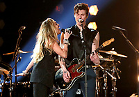 "Miley Cyrus, left, and Shawn Mendes perform ""In My Blood"" at the 61st annual Grammy Awards on Sunday, Feb. 10, 2019, in Los Angeles. (Photo by Matt Sayles/Invision/AP)"