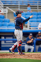 Lakeland Flying Tigers catcher Kade Scivicque (25) signals to the defense during a game against the Dunedin Blue Jays on July 31, 2018 at Dunedin Stadium in Dunedin, Florida.  Dunedin defeated Lakeland 8-0.  (Mike Janes/Four Seam Images)