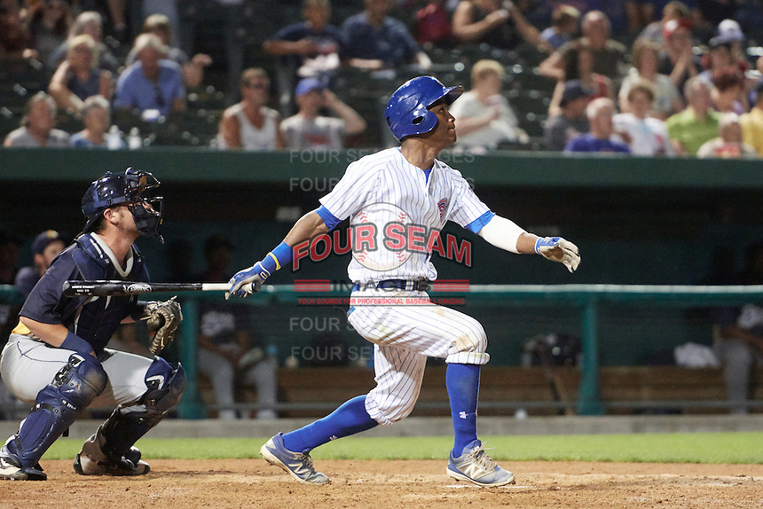 South Bend Cubs left fielder Roberto Caro (43) at bat in front of catcher Michael Barash (33) during a game against the Burlington Bees on July 22, 2016 at Four Winds Field in South Bend, Indiana.  South Bend defeated Burlington 4-3.  (Mike Janes/Four Seam Images)