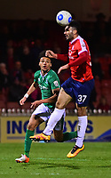 York City's Hamza Bencherif under pressure from Lincoln City's Lee Angol<br /> <br /> Photographer Andrew Vaughan/CameraSport<br /> <br /> The Buildbase FA Trophy Semi-Final First Leg - York City v Lincoln City - Tuesday 14th March 2017 - Bootham Crescent - York<br />  <br /> World Copyright &copy; 2017 CameraSport. All rights reserved. 43 Linden Ave. Countesthorpe. Leicester. England. LE8 5PG - Tel: +44 (0) 116 277 4147 - admin@camerasport.com - www.camerasport.com