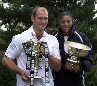 12/02/2004 Six Nations Rugby, England Captain's Press Conference, Pennyhill Park- Bagshot.Lawrence Dallaglio [left] and England Women's Rugby Captain, Maxine Edwards..   [Mandatory Credit, Peter Spurier/ Intersport Images].