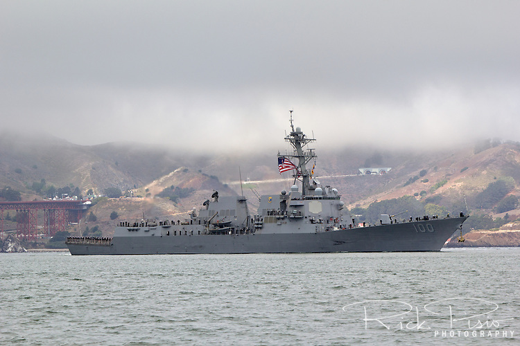 The United States Navy Arleigh Burke-class destroyer USS Kidd (DDG-100) enters San Francisco Bay in October of 2014. Commissioned in 2007, the Kidd is the third Navy ship to be named after Rear Admiral Isaac C. Kidd who was on board the Arizona during the attack on Pearl Harbor and the first American flag officer to die in World War II.