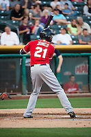 James Jones (21) of the Tacoma Rainiers at bat against the Salt Lake Bees in Pacific Coast League action at Smith's Ballpark on September 2, 2015 in Salt Lake City, Utah. Tacoma defeated Salt Lake 13-6.  (Stephen Smith/Four Seam Images)