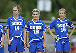 07 October 2007: Duke's Christie MacDonald (14), Elisabeth Redmond (16), and Kelly McCann (18). The Duke University Blue Devils defeated the North Carolina State University Wolfpack 1-0 at Method Road Soccer Stadium in Raleigh, North Carolina in an Atlantic Coast Conference NCAA Division I Women's Soccer game.