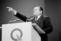 FILE PHOTO : Jean Garon<br /> , Hommage a Rene Levesque, le 27 septembre 1985<br /> <br /> PHOTO : Denis Alix -  Agence Quebec Presse