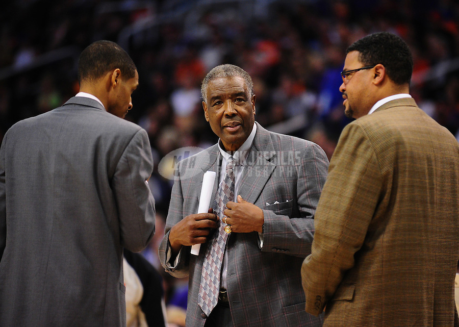 Jan. 26, 2011; Phoenix, AZ, USA; Charlotte Bobcats head coach Paul Silas against the Phoenix Suns at the US Airways Center. The Bobcats defeated the Suns 114-107. Mandatory Credit: Mark J. Rebilas-