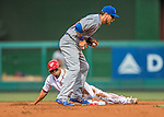 15 June 2016: Washington Nationals outfielder Ben Revere slides safely into second as Chicago Cubs second baseman Ben Zobrist takes a late throw at Nationals Park in Washington, DC. The Nationals defeated the Cubs 5-4 in 12 innings to take the rubber match of their 3-game series. Mandatory Credit: Ed Wolfstein Photo *** RAW (NEF) Image File Available ***