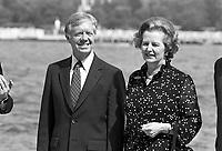 - Jimmy Carter, president of  United States, and British Prime Minister Margaret Thatcher in Venice for G7 summit  in june 1980<br /> <br /> - Jimmy Carter, presidente degli Stati Uniti d'America, e ll Primo Ministro inglese Margaret Thatcher a Venezia per il summit G7 nel giugno 1980