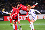 (L-R) <br /> Kim Yun Mi, <br /> Kim Un Ha (PRK), <br /> Cho Sohyun (KOR), <br /> DECEMBER 11, 2017 - Football / Soccer : <br /> EAFF E-1 Football Championship 2017 Women's Final match <br /> between North Korea 1-0 South Korea <br /> at Fukuda Denshi Arena in Chiba, Japan. <br /> (Photo by Naoki Nishimura/AFLO)