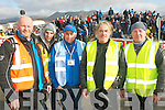 SAFETY FIRST: Anthony O'Shea, Jake O'Donoghue, Derek Cummins, Mike Walsh and Pa Fleming, (Killarney and Killorglin), all marshals working hard at the Cartell.ie Killarney Rally of the Lakes at Moll's Gap on Saturday morning.