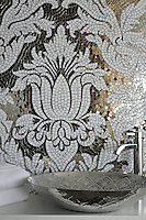 Kingston Lacy, a hand cut jewel glass mosaic shown in Absolute White and mirror, is designed by Rogers &amp; Goffigon for New Ravenna.<br />