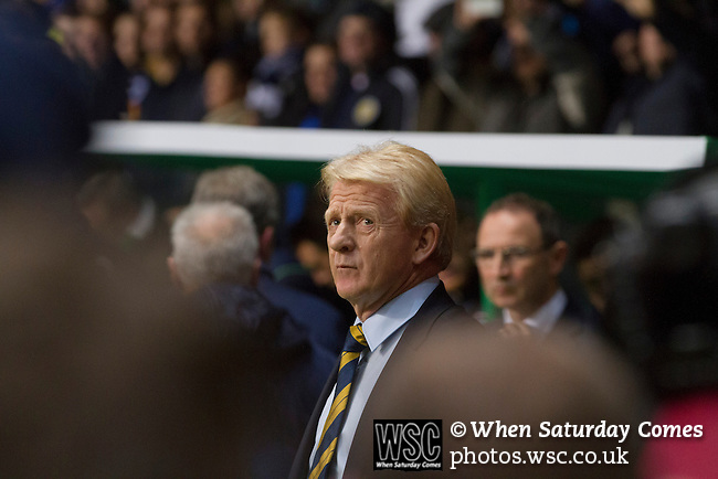 Scotland 1 Republic of Ireland 0, 14/11/2014. Celtic Park, European Championship qualifying. Home manager Gordon Strachan pictured moments before kick-off at the European Championship qualifying match between Scotland and the Republic of Ireland at Celtic Park, Glasgow. Scotland won the match by one goal to nil, scored by Shaun Maloney 16 minutes from time. The match was watched by 55,000 at Celtic Park, the venue chosen to host the match due to Hampden Park's unavailability following the 2014 Commonwealth Games. Photo by Colin McPherson.