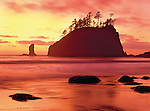 Brilliant Red Sunset on Beach and Rock Monoliths, LaPush, Beach Two, Olympic National Park, Washington State