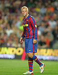 Eidur Gudjohnsen bites on some tissue after getting a smack in the mouth. Barcelona v Osasuna (0-1), La Liga, Nou Camp, Barcelona, 23rd May 2009.
